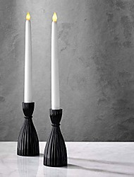 cheap -black candlestick holder set - glass taper candle holders, 6 inch tall, glossy black finish, fits standard 3/4 inch tapered candles, farmhouse kitchen decor, modern party centerpiece - pack of 2