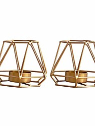 cheap -2 pcs metal hexagon shaped geometric design tea light votive candle holders, iron hollow tealight candle holders for vintage wedding home decoration, gold (s + s)