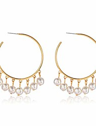 cheap -pearl hoop earrings for women lightweight faux pearl beaded earrings open hoop dangle earrings bridal gifts (pearls dangle hoop style)