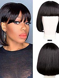 cheap -synthetic  wigs with bangs short bob wig 8 inch straight hair brazilian hair wigs natural color no lace synthetic wigs for women machine made wigs with bangs