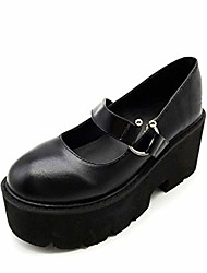 cheap -women's platform mary jane shoes vintage round toe buckle strap casual slip-on walking shoes black