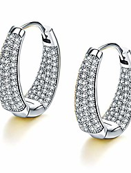 cheap -huggies hoop earrings, fashion small white gold plated hoop earrings cubic zirconia for women teen girls