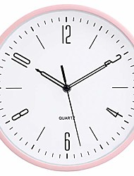 cheap -modern simple style wall clock 10 inch silent non ticking quality quartz battery operated decorative kids clock for living room bedroom bathroom kitchen school office,rose+white