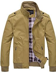 cheap -fanshonn men's casual slim fit lightweight bomber jacket full zip outwear coat blue