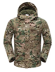 cheap -Men's Hoodie Jacket Outdoor Thermal Warm Waterproof Windproof Fleece Lining Spring Fall Winter Camo Coat Top Polyester Camping / Hiking Hunting Fishing Python Black Black Camouflage