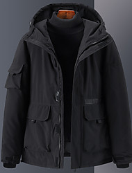 cheap -Men's Women's Down Parka Solid Colored POLY Black / Blue / Red S / M / L