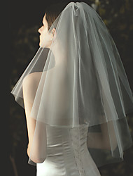 cheap -Two-tier Stylish / Classic Wedding Veil Elbow Veils with Solid Tulle