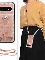 cheap -samsung galaxy s10 plus crossbody wallet case,premium leather case with detachable adjustable crossbody strap and credit card slots for samsung galaxy s10 plus 6.4 inch-rose gold