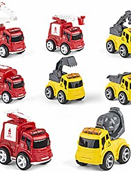 cheap -metal friction powered cars push and go, 8 pack die cast toy cars set, 4pcs fire truck and 4pcs engineering vehicle.kids toys vehicles pull back car ,for aged 3-6 year boys girls kids