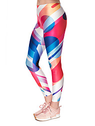 cheap -Women's Sporty Comfort Gym Yoga Leggings Pants Patterned Ankle-Length Red