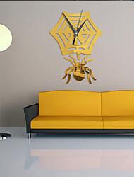 cheap -Creative Mute Clock Core Acrylic Clock Creative Spider Web Mirror Wall Clock 3D  Personality Decoration Quartz Clock ZB089