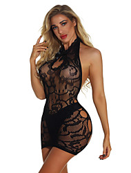 cheap -Women's Mesh Babydoll & Slips Nightwear Floral Black One-Size