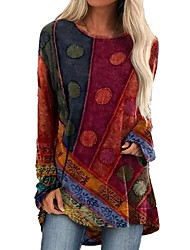 cheap -Women's T Shirt Dress Tee Dress Short Mini Dress - Long Sleeve Color Block Patchwork Fall Elegant Sexy 2020 Blue Purple Red Green S M L XL XXL 3XL