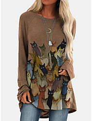 cheap -Women's Tunic T shirt Cat Long Sleeve Print Round Neck Tops Loose Basic Top Blue Wine Khaki