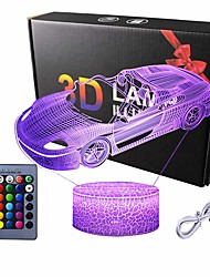 cheap -Car Gift for Boys Racing Car 3D LED Illusion Lamp Night Light for Boys 16 Colors Dimmable USB Powered Touch Control with Remote Creative Car Gifts for Boys