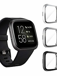 cheap -(3 pack) compatible for fitbit versa 2 screen protector case, full body cover scratch resistant shock absorbing ultra slim protective for fitbit versa 2 cases (clear,black,gray)