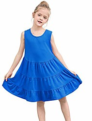 cheap -cotton dresses for girls sleeveless tiered casual swing summer dress, royal blue, size 120