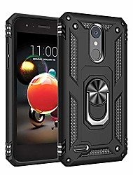 cheap -phone case for [lg k8 plus (2018) us cellular], [ring series][black] shockproof defender [full rotating metal ring] cover with [kickstand] for lg k8 plus (2018) us cellular