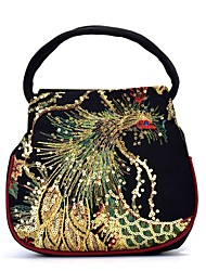 cheap -Women's Bags Canvas Top Handle Bag Beading Pattern / Print Embellished&Embroidered Daily 2021 Handbags Wine Black Blue