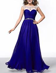 cheap -Sheath / Column Beautiful Back Sexy Wedding Guest Formal Evening Dress Illusion Neck Sleeveless Floor Length Chiffon with Beading Sequin 2021