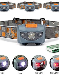 cheap -led headlamp flashlight camping, hiking, dog walking, and kids with 4 modes- long battery life (3aaa durable batteries included) weighted 2.6 oz waterproof headlight (4pcs orange)