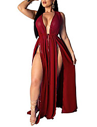 cheap -women's sexy beachwear swimsuit cover up swimwear bikini split long maxi dresses (xx-large, wine red)