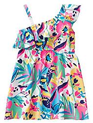 cheap -girls' toddler one shoulder casual woven dress, chambray ruffle strap, 6-12 mo
