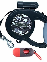 cheap -retractable dog lead, 8m extendable dog lead with torch & poo bag dispenser for night walking, running, training ect. retractable leads for samll medium large dogs up to 110lbs(50kg) (grey)