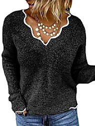 cheap -womens long sleeve v neck pullover sweaters cute knitted winter oversized blouse tops black