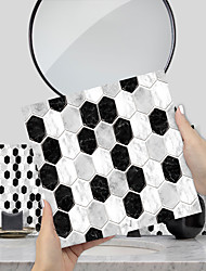 cheap -Imitation Epoxy Tile Stickers Black and White Mosaic Wall Stickers House Renovation DIY Self-adhesive PVC Wallpaper Painting Kitchen Waterproof and Oilproof Wall Stickers