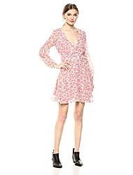 cheap -womens sunday brunch printed chiffon dress, dusty rose 2