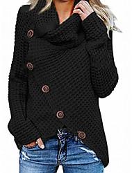 cheap -Women's Pullover Braided Asymmetric Hem Button Solid Color Stylish Acrylic Fibers Long Sleeve Sweater Cardigans Turtleneck Fall Winter Yellow Khaki Green