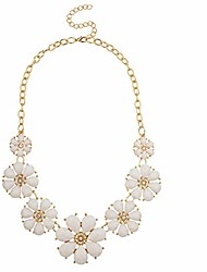 cheap -gold tone and white floral flower fashion statement necklace
