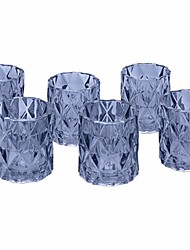 """cheap -3"""" tall navy blue modern multifaceted glass candle holders, set of 6 votives, bulk tealight holders, tablescapes, wedding, home decor, office, restaurant, table setting decorations"""
