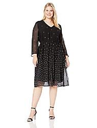 cheap -women's size plus long sleeve drawstring midi dress, anne black/versailles combo, 14w