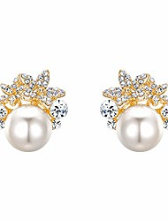 cheap -women's austrian crystal ivory color simulated pearl bridal flower stud earrings clear gold-tone