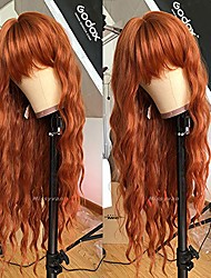 cheap -orange red wig long curly wavy hair wigs for women with air bangs heat esistant fiber synthetic cosplay party wigs