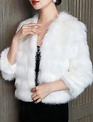 cheap -3/4 Length Sleeve Coats / Jackets Orlon Wedding Bolero With Fur