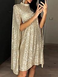 cheap -Women's Sheath Dress Knee Length Dress - Sleeveless Solid Color Sequins Summer Elegant Going out 2020 Gold Silver S M L XL XXL