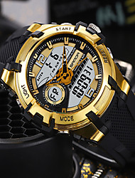 cheap -SANDA Men's Digital Watch Digital Sporty Classic Water Resistant / Waterproof Analog - Digital Black / Silver Black+Gloden Black / One Year / Rubber / Japanese
