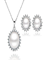 "cheap -""sunshine"" 925 sterling silver jewelry sets 8mm freshwater pearl earrings necklace set (necklace+earrings)"