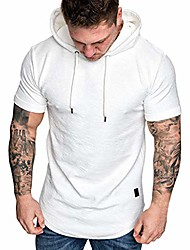 cheap -men's slim fit casual t-shirt popular fashion short sleeve hoodie top heavyweight athletic drawstring t-shirt white