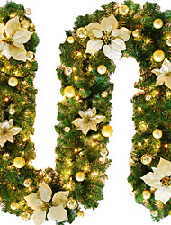 cheap -2.7M Christmas Rattan Garland Decorative Green Christmas Garland Artificial Xmas Tree Rattan Banner Decoration