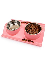 cheap -Cat Dog Bowls & Water Bottles Plastic Waterproof Solid Colored Blue Pink Green Bowls & Feeding