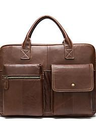 cheap -Men's Bags Cowhide Shoulder Messenger Bag Laptop Bag Briefcase Zipper Daily 2021 Handbags Red Brown Black Brown Coffee