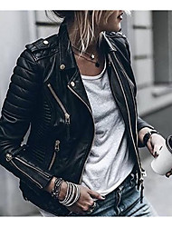 cheap -Women's Zipper Faux Leather Jacket Regular Solid Colored Daily White Black S M L XL
