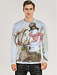cheap -Men's 3D Graphic Animal T-shirt Print Long Sleeve Christmas Tops Round Neck Khaki