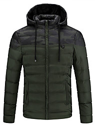 cheap -men's hooded down double knit quilted jacket - xl - black