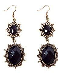 cheap -lolita black rhinestone teardrop chandelier dangle earrings (black drop)