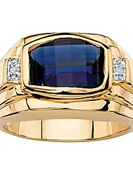 cheap -men's cushion-cut lab created blue sapphire and diamond accent 18k gold-plated ring size 11